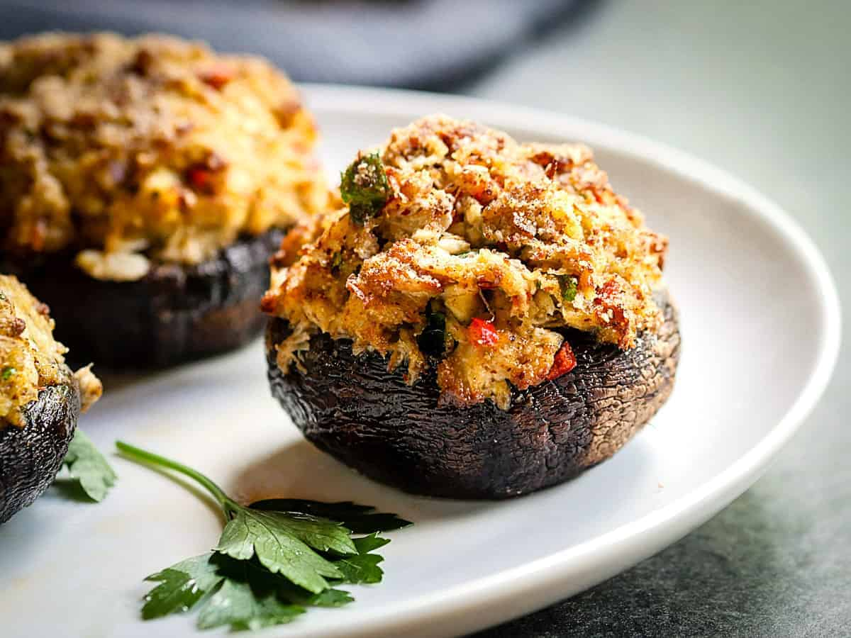 Crab Stuffed Portobello Mushrooms The Sophisticated Caveman